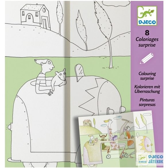 Művészi színező készlet, Bújócska (Djeco, 9634, kreatív képkészítő, 6-11 év)