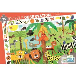 Jungle Dzsungel állatai 35 db-os Djeco képkereső puzzle