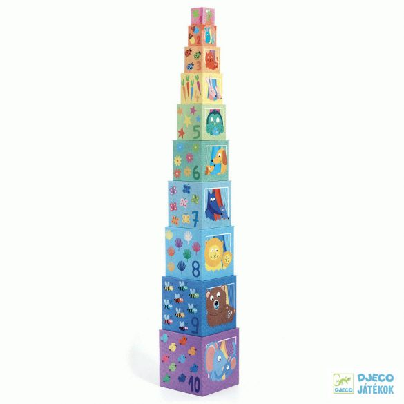 Rainbow, Szivárványos Djeco toronyépítő kocka - 8510