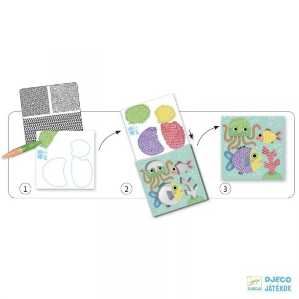 Állatos színező a minta feldörzsölésével (Djeco, 8988, kreatív készlet, 3-6 év)