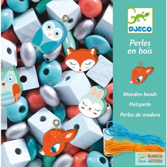 Wooden beads Small animals kisállatos Djeco gyöngyfűző ékszerkészítő