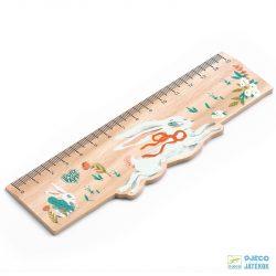 Lucille ruler 15 cm-es nyuszis Djeco fa vonalzó