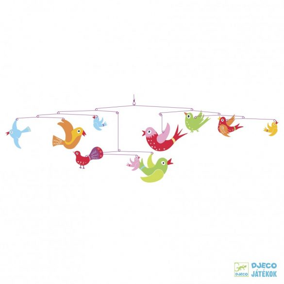 Függődísz, Színes madarak (djeco, Colourful flight of fancy, gyerekszoba-dekoráció)