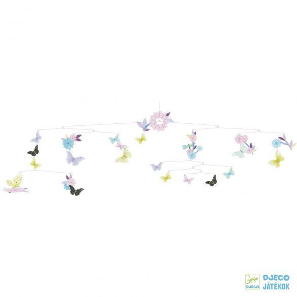 Függődísz, Pillangós mobil függődísz (djeco, 4320, Butterfly twirl, szobai dekorációs kellék)