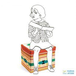 Teepee toy box - Indián Djeco téglalap alakú tárolódoboz és ülőke - 4482