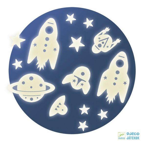 Space mission űrutazás fluoreszkáló Djeco falmatrica