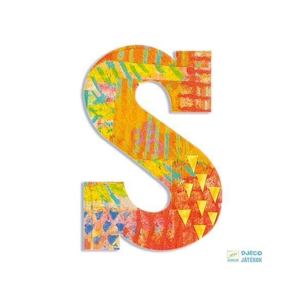 Modern dekor betű fából: S (Djeco, 4828, szobadekoráció, 0-99 év)