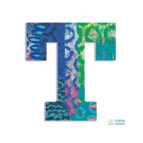 Modern dekor betű fából: T (Djeco, 4829, szobadekoráció, 0-99 év)