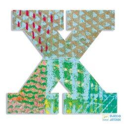 Modern dekor betű fából: X (Djeco, 4833, szobadekoráció, 0-99 év)