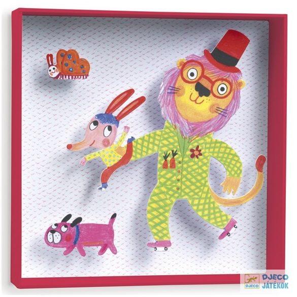 Lion, 3D-s kép (Djeco, 4932, szobadekoráció, 21x21x4 cm-es falikép)