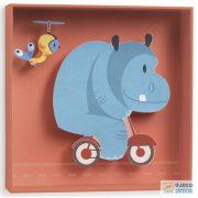 Hippopotamus, 3D-s kép (Djeco, 4937, szobadekoráció, 18,5x18,5x4cm-es falikép)