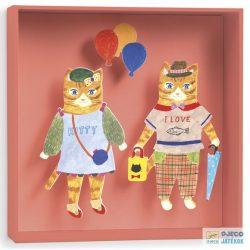 Cats balloon, 3D-s kép (Djeco, 4941, szobadekoráció, 16 x 16 x 4 cm-es falikép)