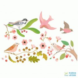 Romantikus madaras 25 db-os újraragasztható Djeco ablakmatrica